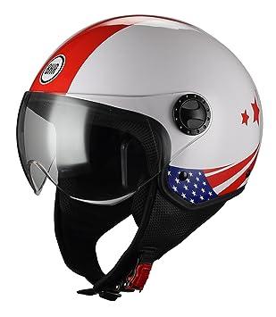 BHR Casco Moto Demi-Jet Linea One 801, bandera USA, XS (54
