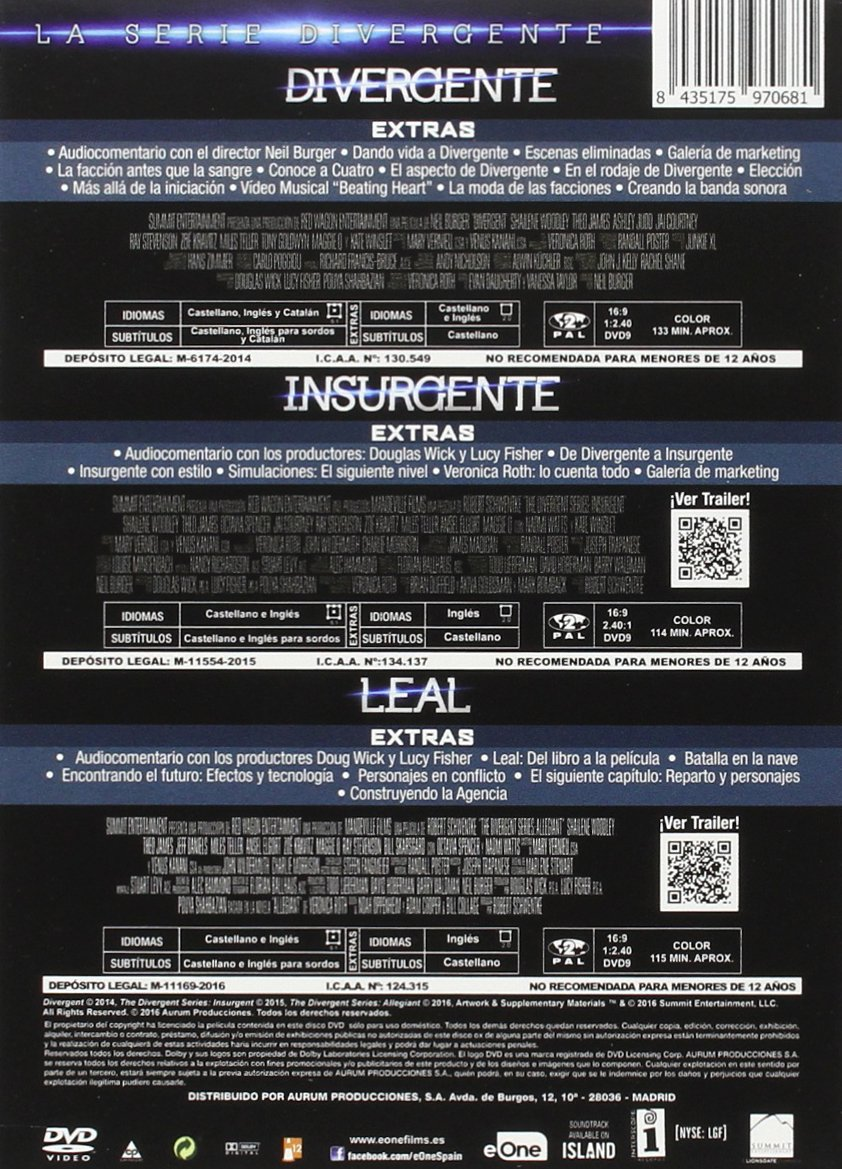Pack Divergente + Insurgente + Leal [DVD]: Amazon.es: Shailene Woodley, Theo James, Jeff Daniels, Kate Winslet, Robert Schwentke, Neil Burger, Shailene Woodley, Theo ...