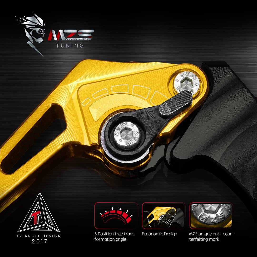MZS Duke 390 Levers Adjustment Brake Clutch CNC for KTM Duke390 RC390 2013-2018// Duke 125 RC125 2014-2018// Duke 200 RC200 2014-2018 Gold