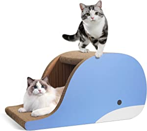 ComSaf Large Cat Scratcher Lounge, Corrugated Cardboard Cat Scratcher, Extra Big Cat Scratch Sofa Bed Lounge, Cat Scratching Pad House for Cat Kitty Kitten as Furniture Protector
