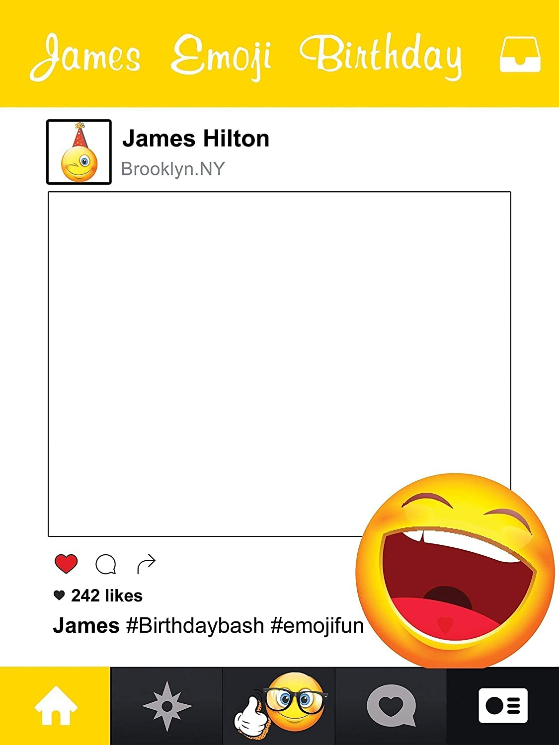 Custom Emoji Social Media Smiley Face Happy Birthday Photo Booth