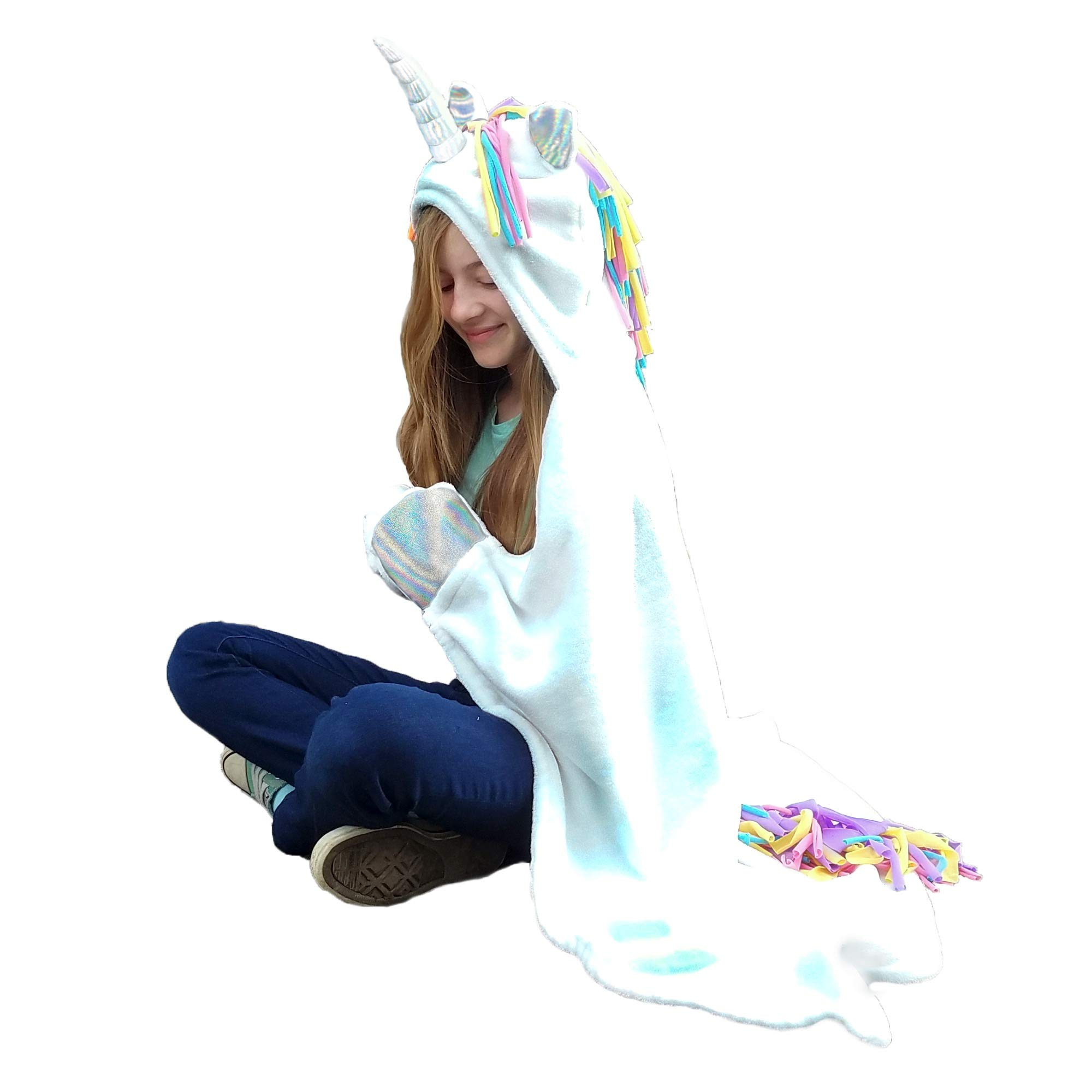 Hooded Unicorn Blanket for Girls, Teens, and Adults, White Plush Wearable Animal Throw with Rainbow and Iridescent Details by Zevany