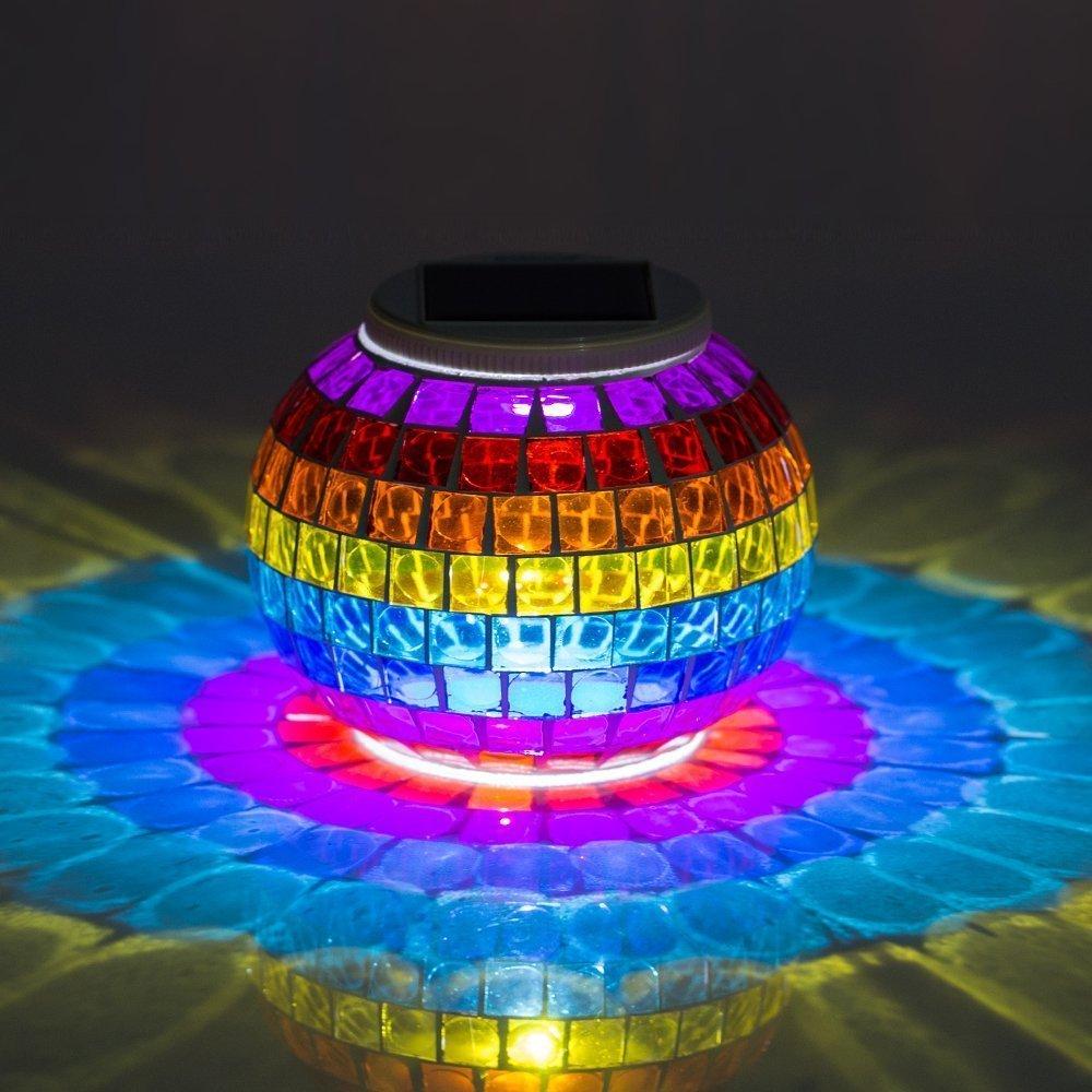 Solar Poweredモザイクガラス、merrynine SolarテーブルランプガラスLED充電式ソーラー夜ランプ防水ソーラー屋外ライトの色変更のホーム、庭、パティオ、パーティーデコレーション J00 B071J5DK23 13610 Grilles-rainbow Grillesrainbow