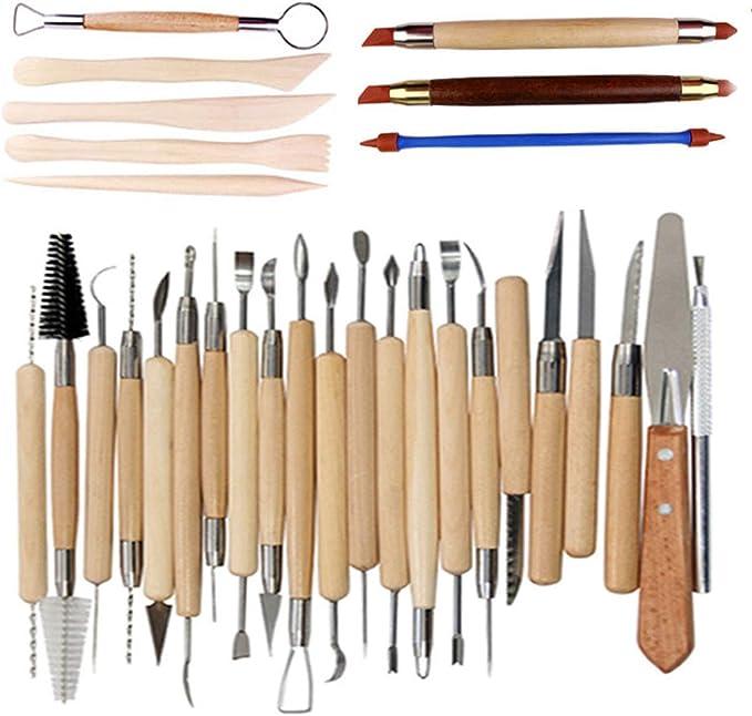vorbildliche Werkzeuge u die Skulptur-Schnitzen-Werkzeug-Satz Cozyswan Neue 14pcs Tonwaren-Werkzeuge H/ölzernes Skulptur-Messer f/ür T/öpfer//K/ünstler des Keramiks schnitzen Keramik Werkzeug