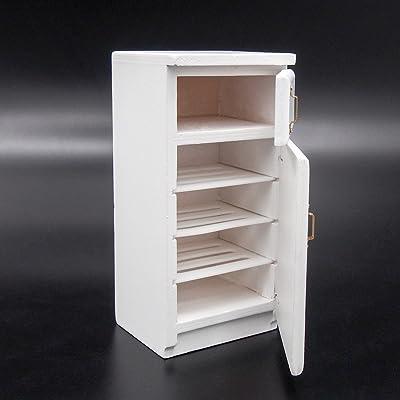 Odoria 1:12 Miniature 2 Door Fridge White Wooden Dollhouse Furniture Accessories: Toys & Games