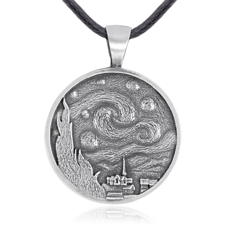 Dan's Jewelers Van Gogh Starry Night Pendant Necklace, Fine Pewter Jewelry