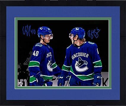 Framed Brock Boeser   Elias Pettersson Vancouver Canucks Autographed  16 quot  x 20 quot  Spotlight Photograph 9a4c6fc73