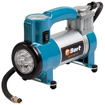 Bort BLK-252-LT compresor aire coche. 12 V, 25 litros/Minuto. Conector de encendedor de cigarrillos. Incluye 3 adaptadores suplementarios.
