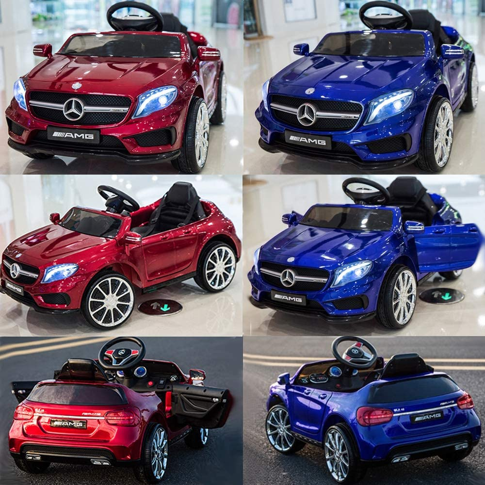 LED Lights and MP3 Player Red Black and Blue with Remote Control SABS Toys Licensed Mercedes-Benz AMG GLA 45 12v Electric Ride on Car for Kids available in three colours