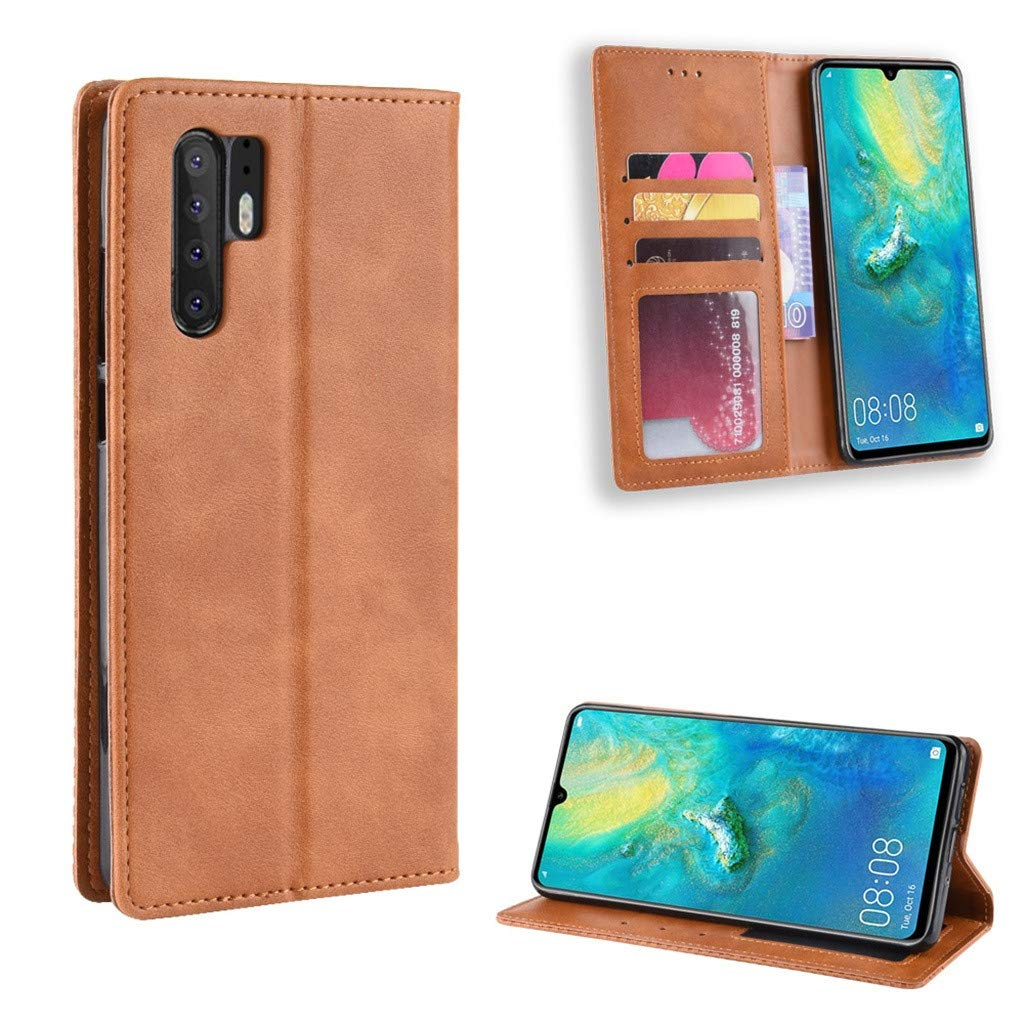 CapsA Phone Cases Compatible Huawei P30 6.1inch Retro Leather Magnetic Buckle Case Luxury Credit Card Slot Wallet Cover Stand Holder Leather Flip Case (Brown)