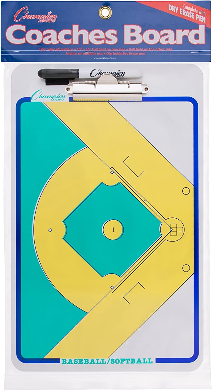 Champion Sports Baseball Softball Coaches Double Sided Dry Erase Clipboard