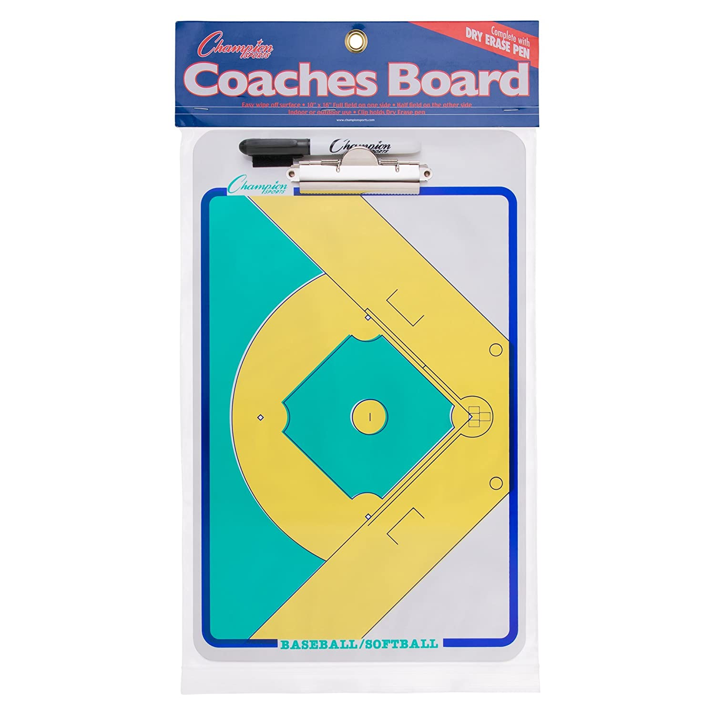 Champion Sports Dry-Erase Baseball/Softball Double Sided Coaches Clipboard CBBA