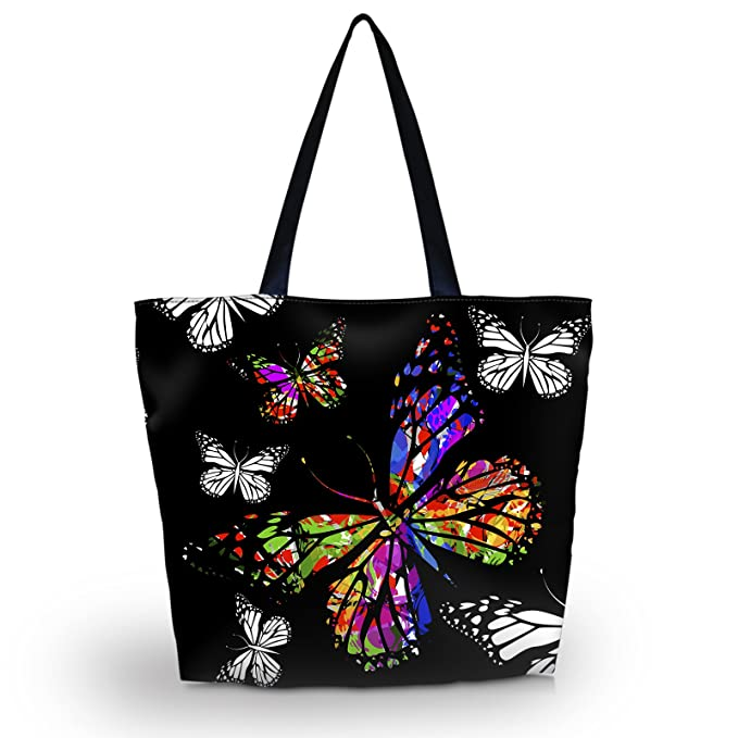 9d2047d3ea52 Amazon.com  Beach Tote Bags Travel Totes Bag Shopping Zippered Tote for  Women Foldable Waterproof Overnight Handbag (Colorful Butterfly)  newplenty