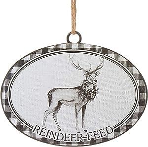Raz Reindeer Feed Black White Checkered 6 inch Iron Decorative Christmas Ornament
