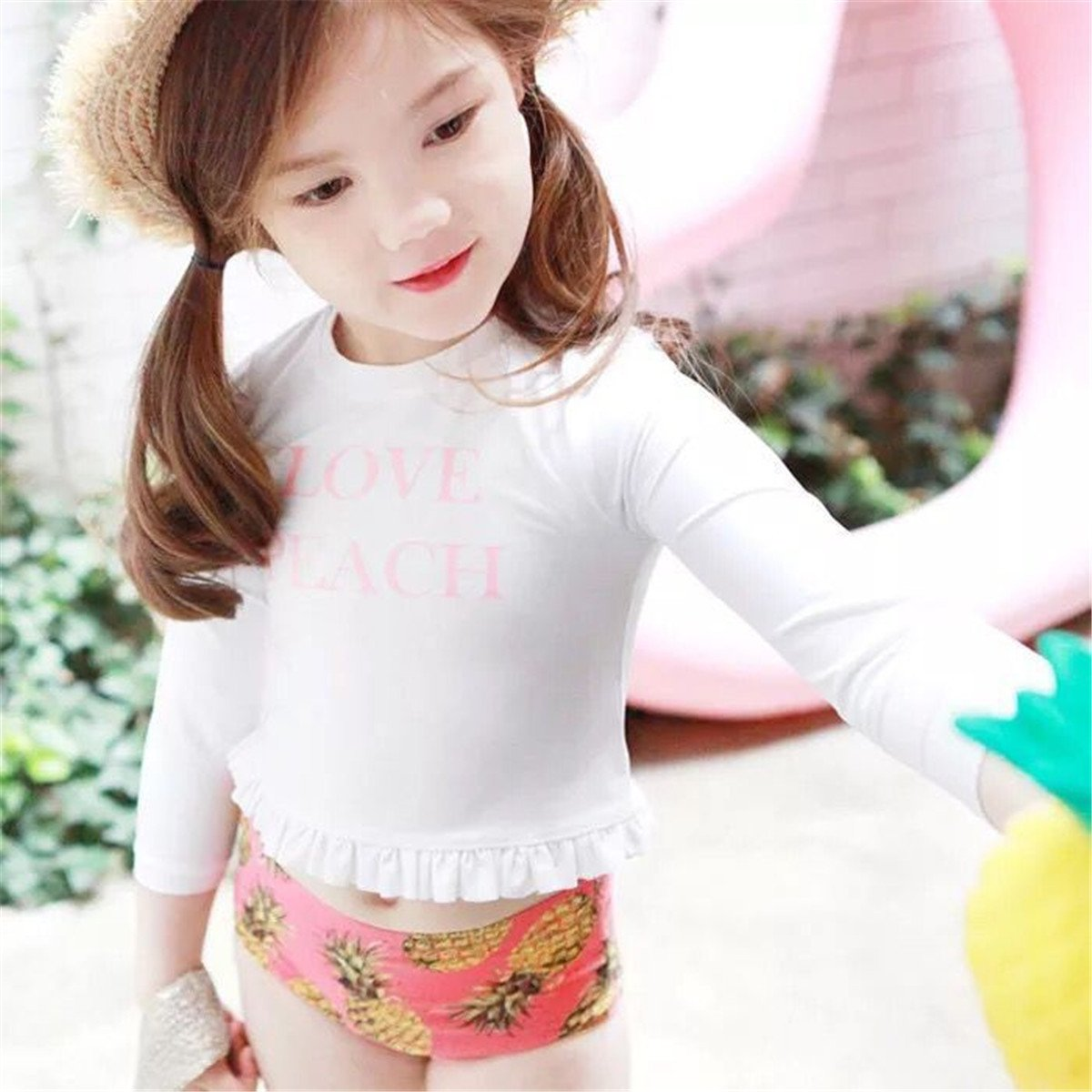 UV Swimsuits Beachwear Bathing Suits Little Girls Kids 2 Pieces Long-Sleeve Flamingo Swimwear Rash Guard UPF 50