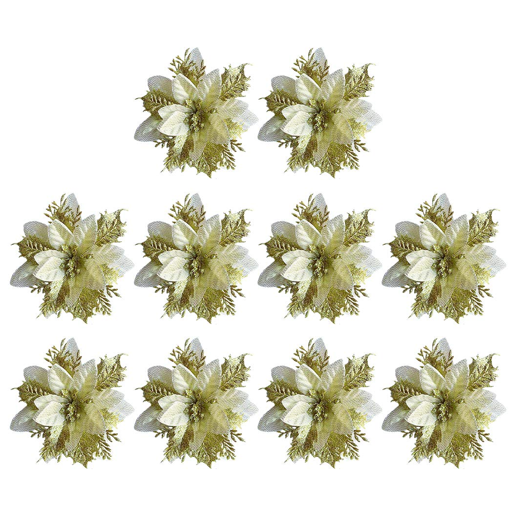 Buy Bangcool 10pcs Christmas Glitter Flowers Simulation Poinsettia Flowers Xmas Tree Decorations Online At Low Prices In India Amazon In