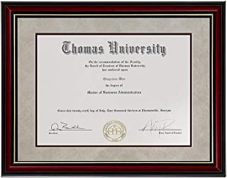 product image for flag connections Diploma Frame Sized 8.5x11 Inch with Mat and 11x14 Inch Without Mat Real Wood and Glass, Golden Rim for Documents Certificates