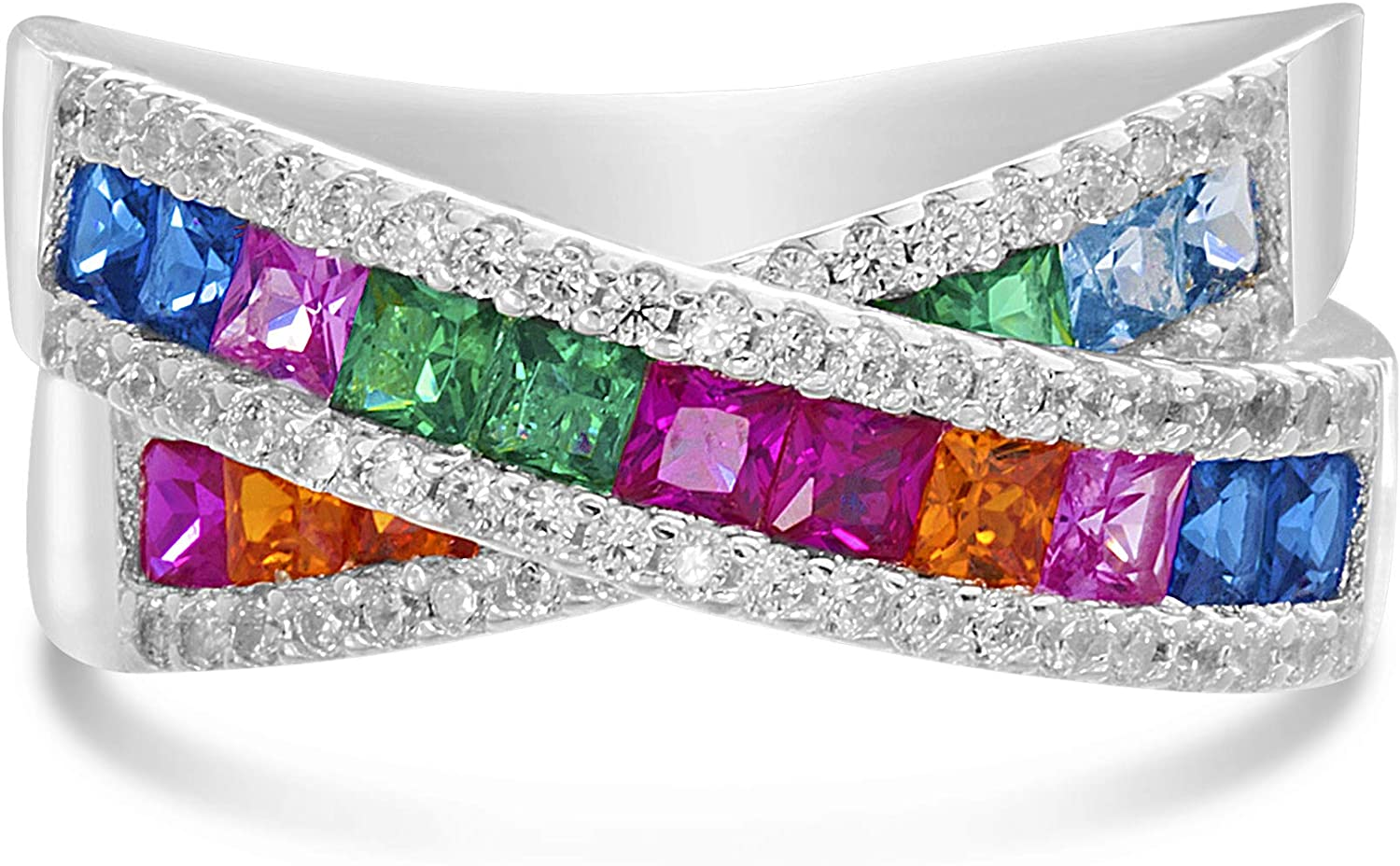 CloseoutWarehouse Oval Rainbow Simulated Topaz Cubic Zirconia Designer Style Ring Sterling Silver
