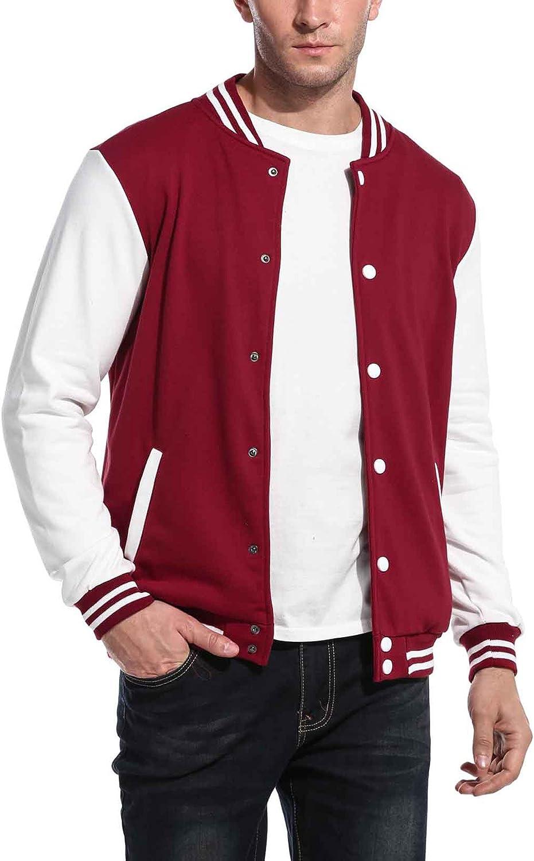 COOFANDY Mens Slim Fit Varsity Baseball Jacket Bomber Cotton Premium Jackets at  Men's Clothing store
