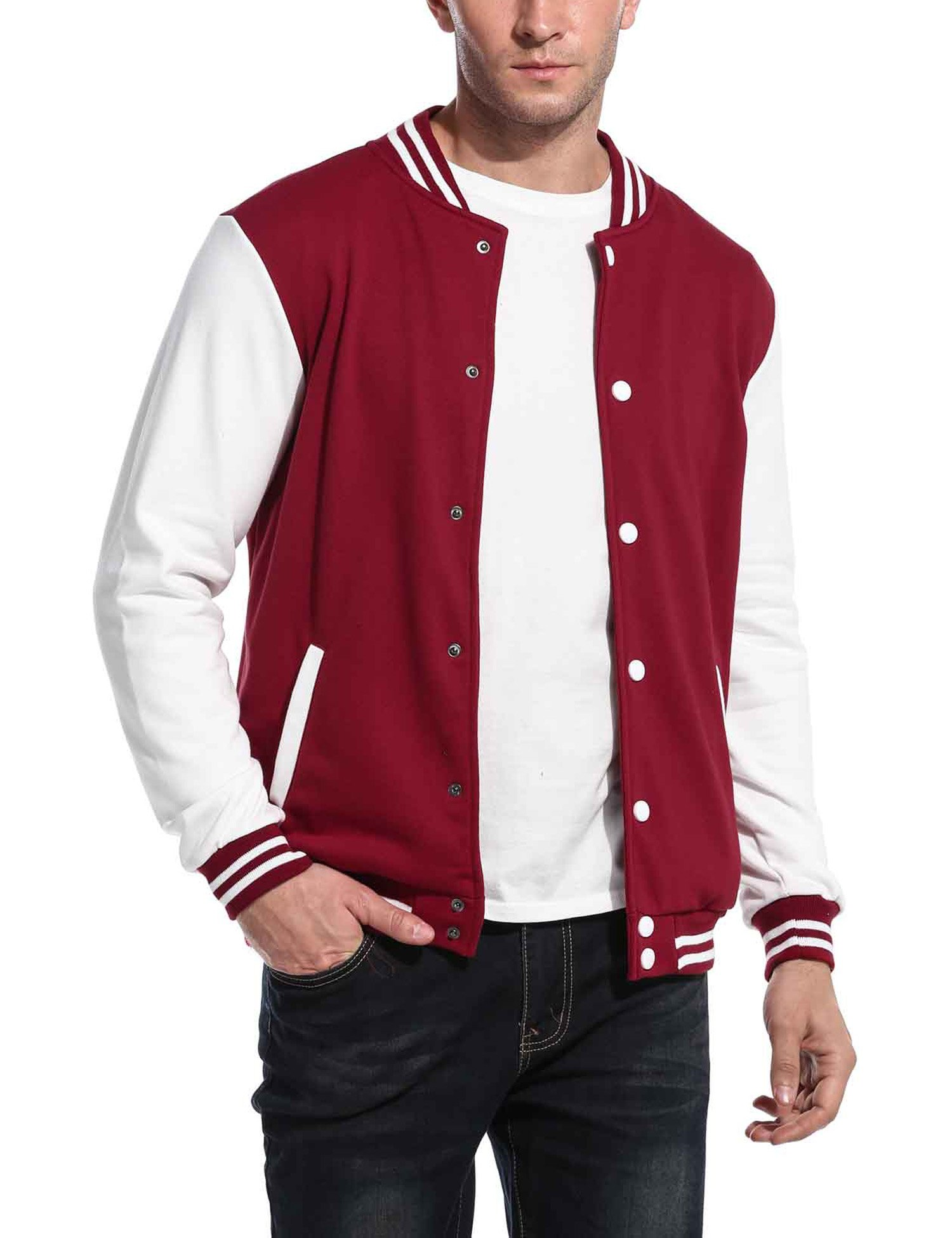 COOFANDY Men Fashion Long Sleeve Button Front Cotton Bomber Baseball Jacket(Red,Large) by COOFANDY