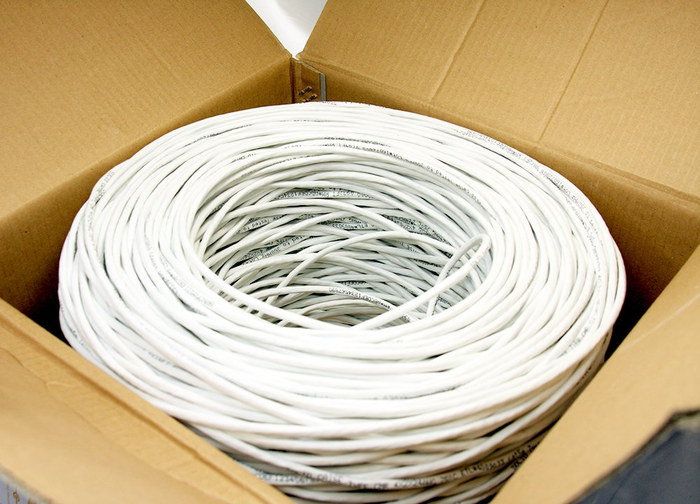 CAT5e CMR Ethernet UTP Cable White 1000FT 24 AWG SOLID BARE COPPER