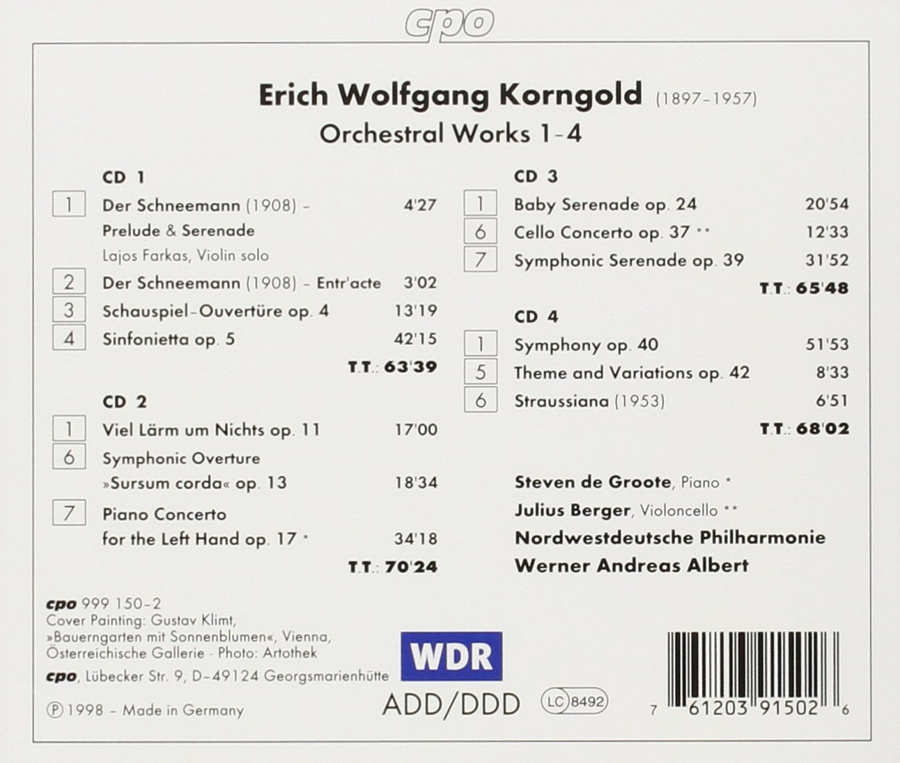 Orchestral Works 1-4 by CPO