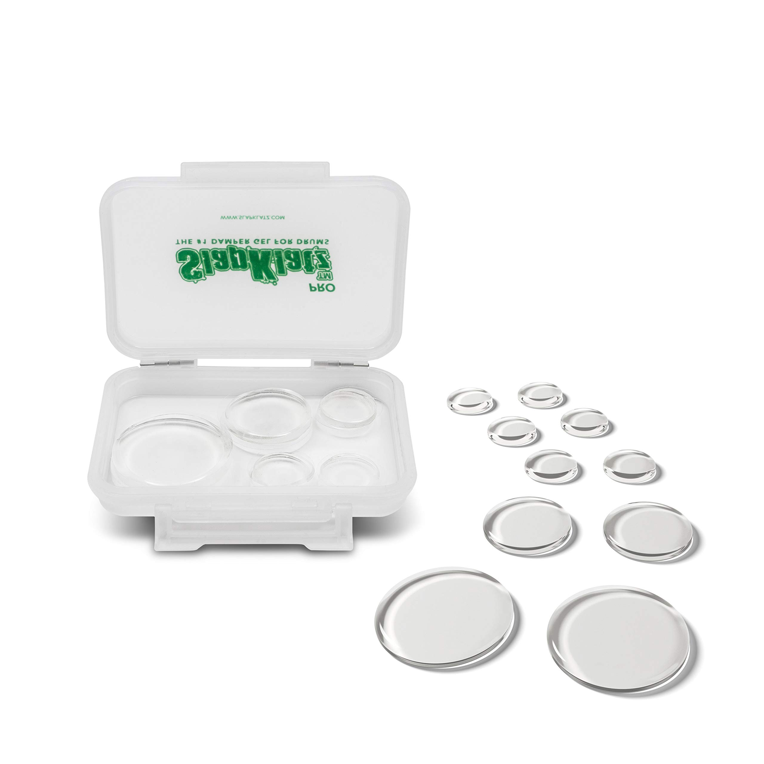 SlapKlatz Pro - Clear | 10 Pieces of Superior Drum Gel Dampeners in 3 Sizes | FREE rugged case included | Non-toxic