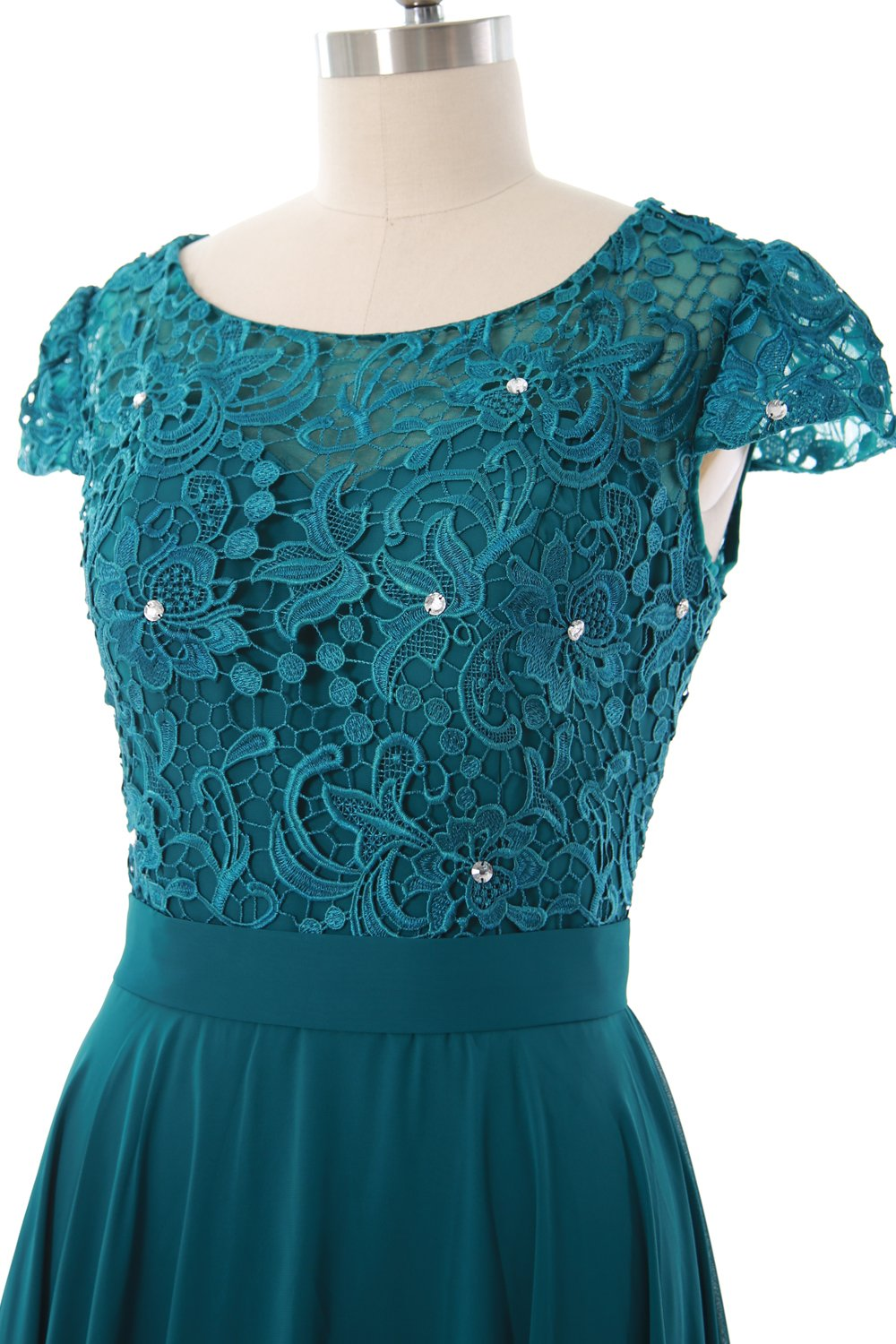 MACloth Women Cap Sleeve Mother of The Bride Dress Lace Short Formal Party Gown (24w, Amethyst) by MACloth (Image #3)