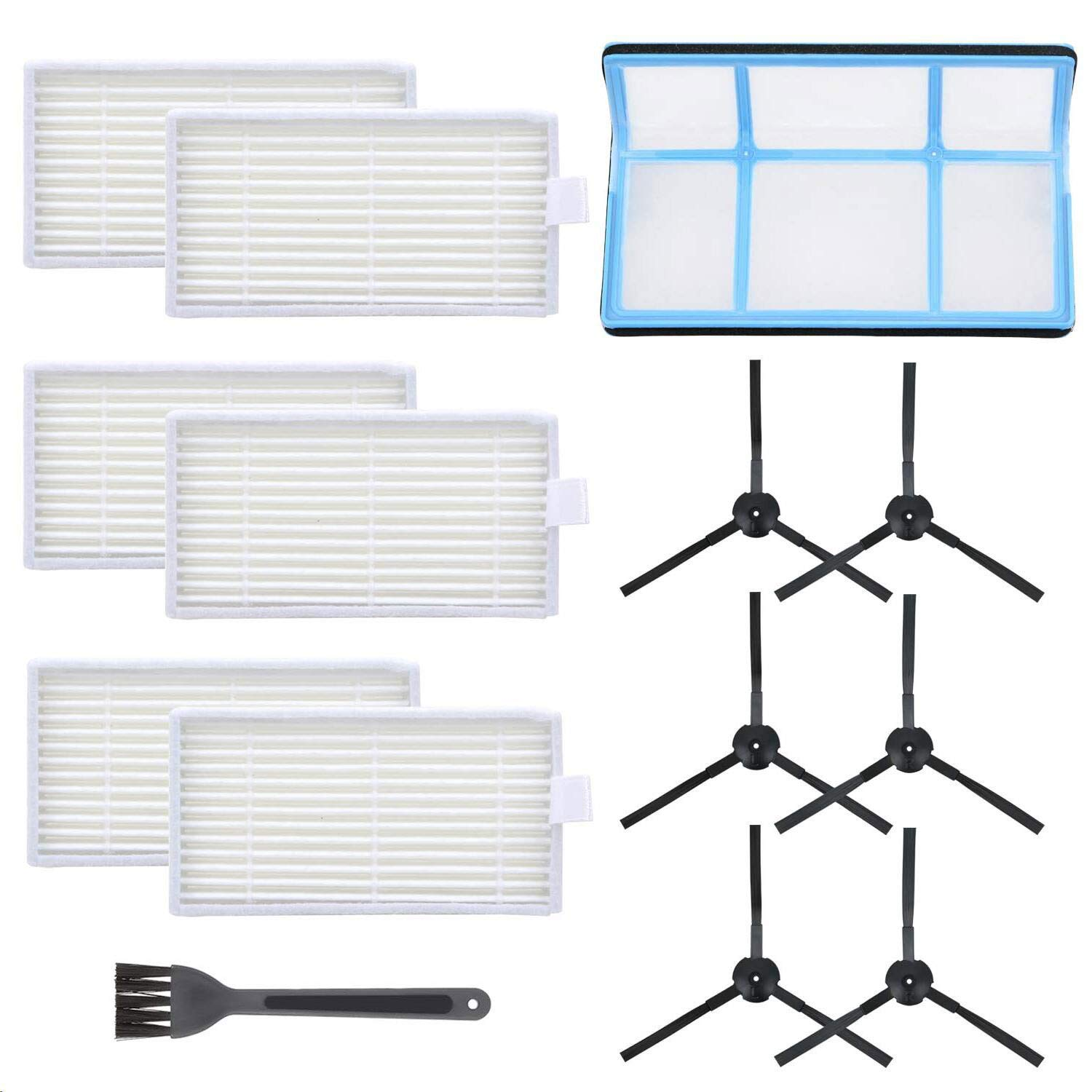 Mochenli Vacuum Filter Kit Replacement for Robotic Vacuum ILIFE V3 V3S V5 V5s, Pro Robot Vacuum Cleaner 6 Filters and 6 Side Brushes and 1 Primary Filter (Pack of 13) 7102BypMAYKL