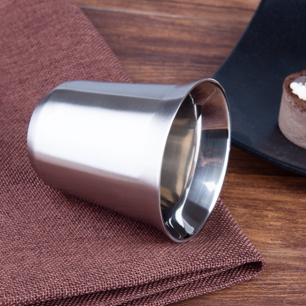 IMEEA/® 5.8oz//170ml Brushed 18//10 Stainless Steel Double Wall Cups Mugs for Vodka Whiskey Coffee Tea Drinks 4 Pcs