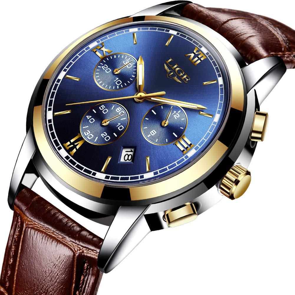 Relojes para Hombres,LIGE Impermeable Cronógrafo Correa de Cuero Marrón Analógico de Cuarzo Relojes de Pulsera