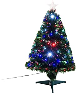 HOMCOM 3FT Tall Artificial Tree Multi-Colored Fiber Optic LED Pre-Lit Holiday Home Christmas Decoration, Green