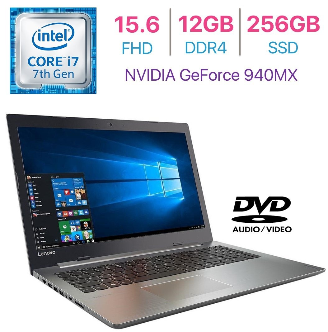 Newest Lenovo 320 Business Premium Laptop PC 15.6'' FHD(1920x1080) Display Intel i7-7500U 2.7GHz Processor 12GB DDR4 RAM 256GB SSD NVIDIA GeForce 940MX Dolby Audio HDMI Bluetooth DVD±R/RW Windows 10 by Lenovo
