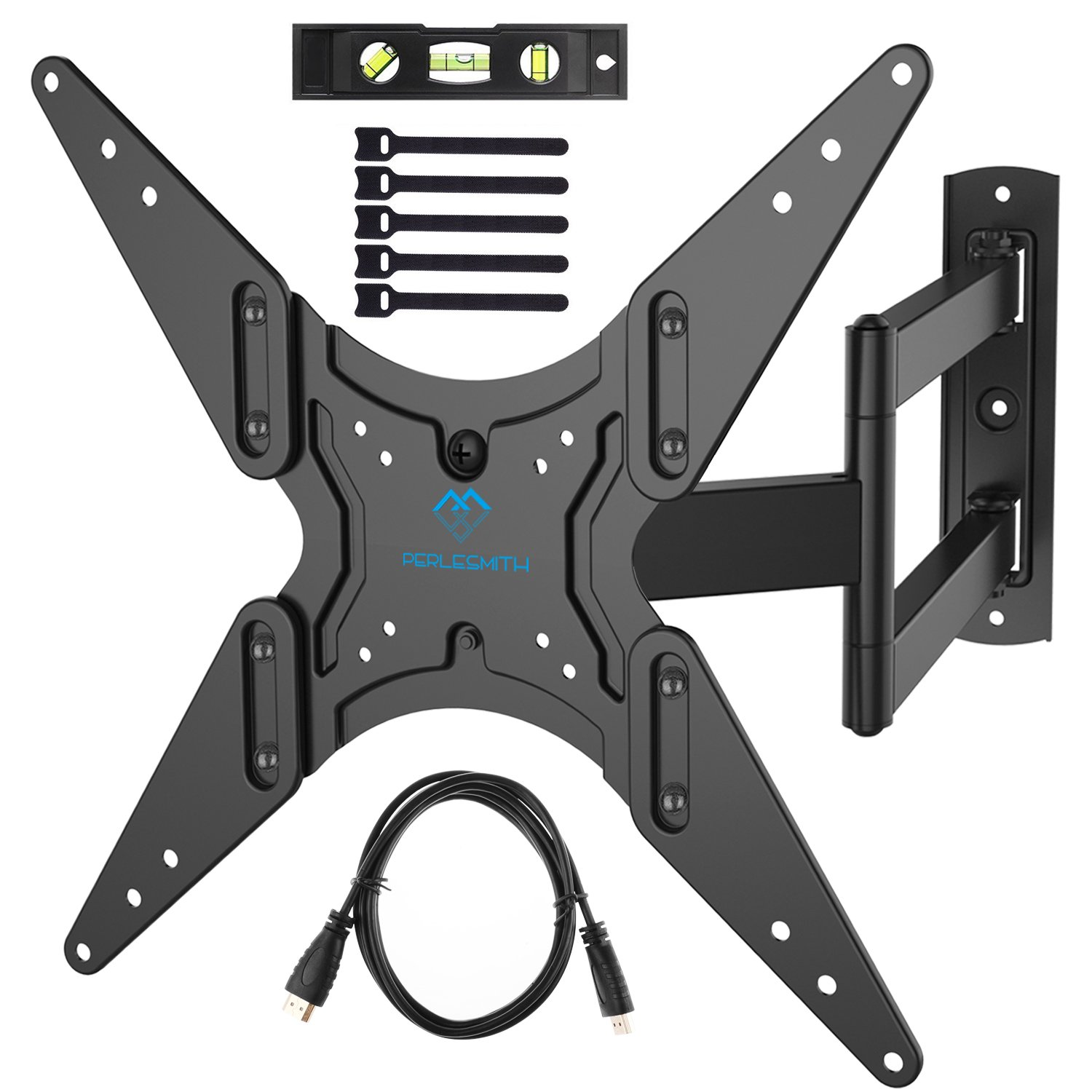 "PERLESMITH TV Wall Mount for 23-60""TVs with Swivel & Extends 18.5""- Wall Mount TV Bracket VESA 400x400 fits LED, LCD, OLED Flat Screen TVs up to 99 lbs - with HDMI Cable, Bubble Level & Cable Ties"
