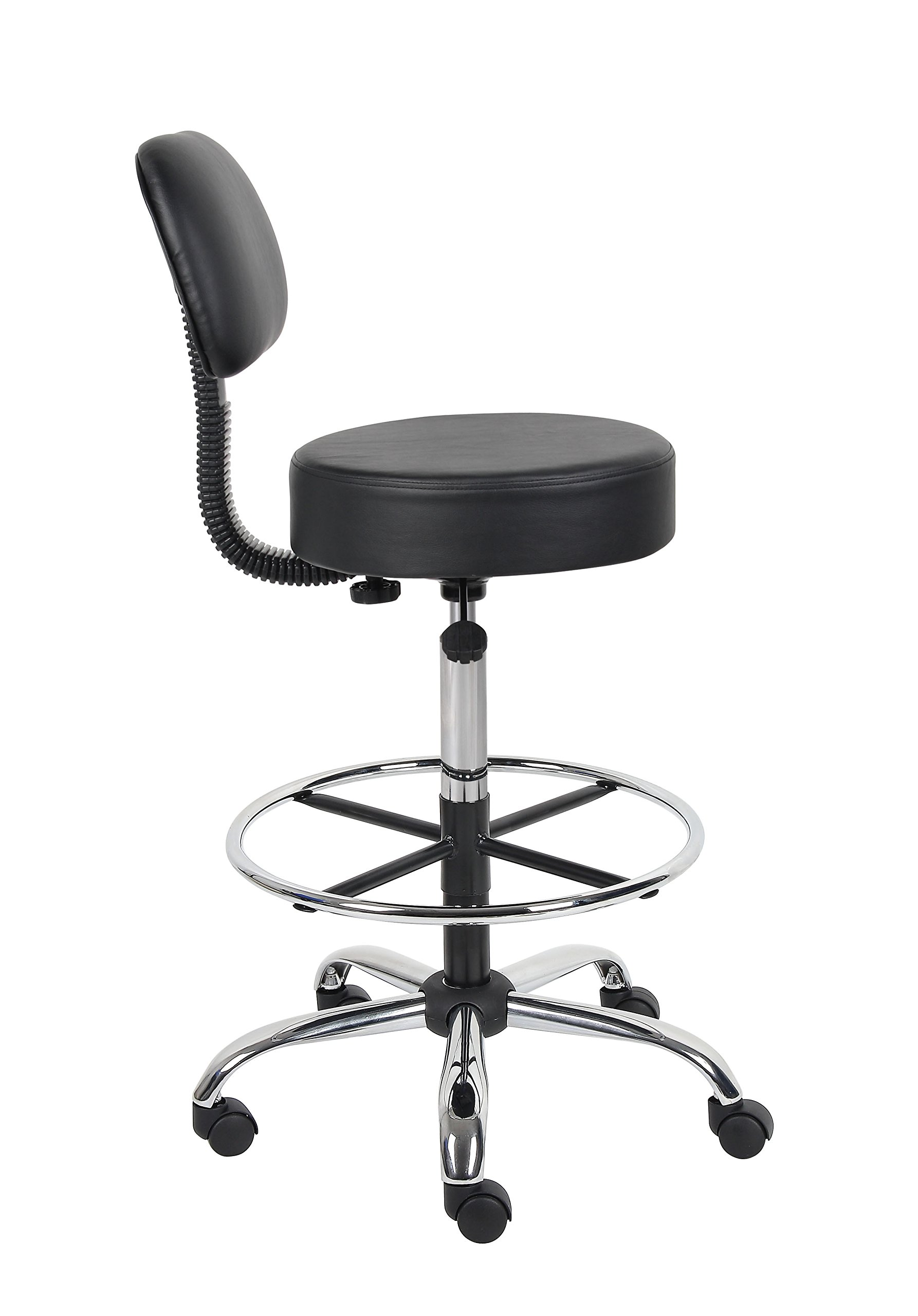 Boss Office Products B16245-BK Be Well Medical Spa Drafting Stool with Back,  Black by Boss Office Products (Image #7)