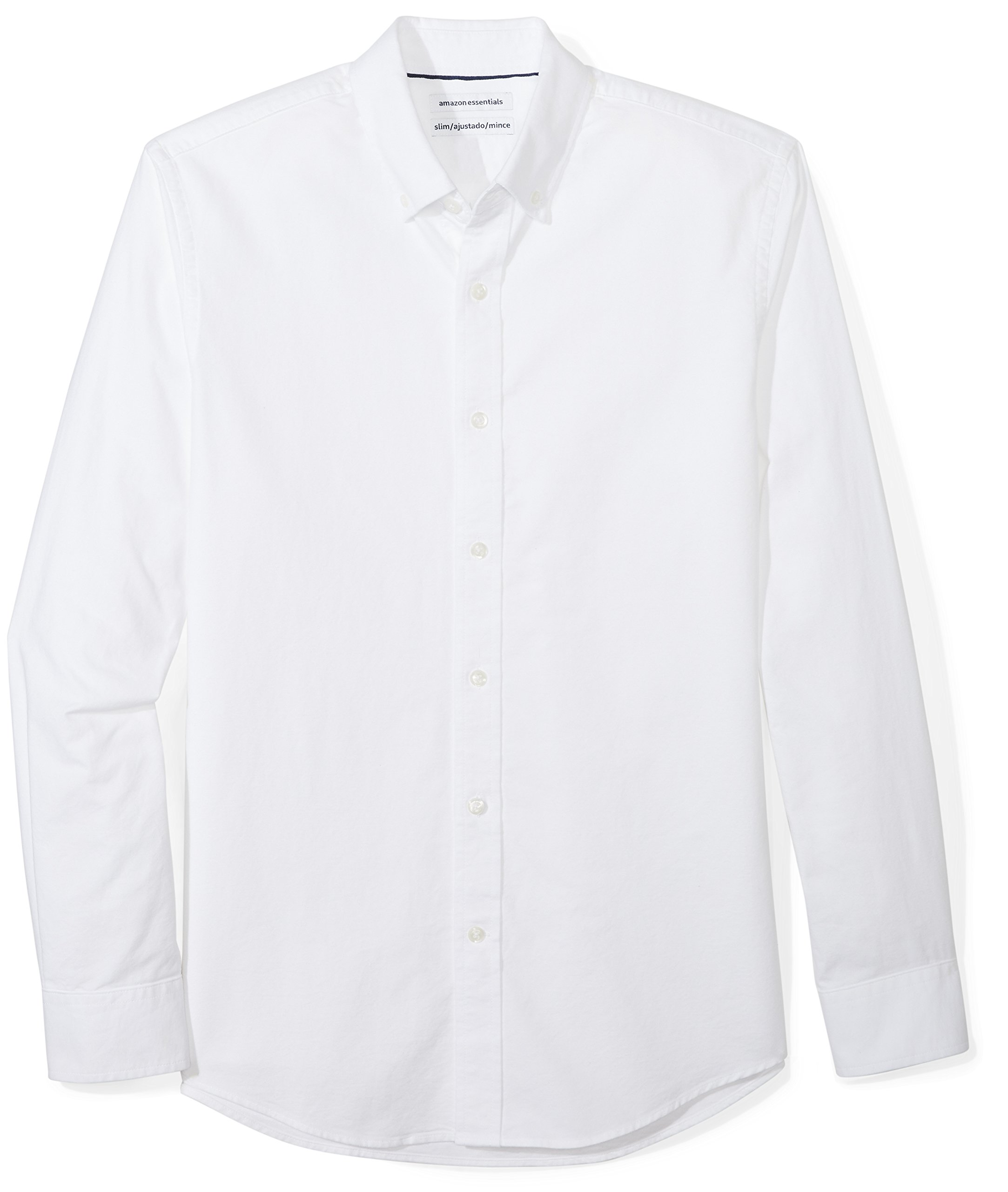 Amazon Essentials Men's Slim-Fit Long-Sleeve Solid Oxford Shirt, White, X-Large
