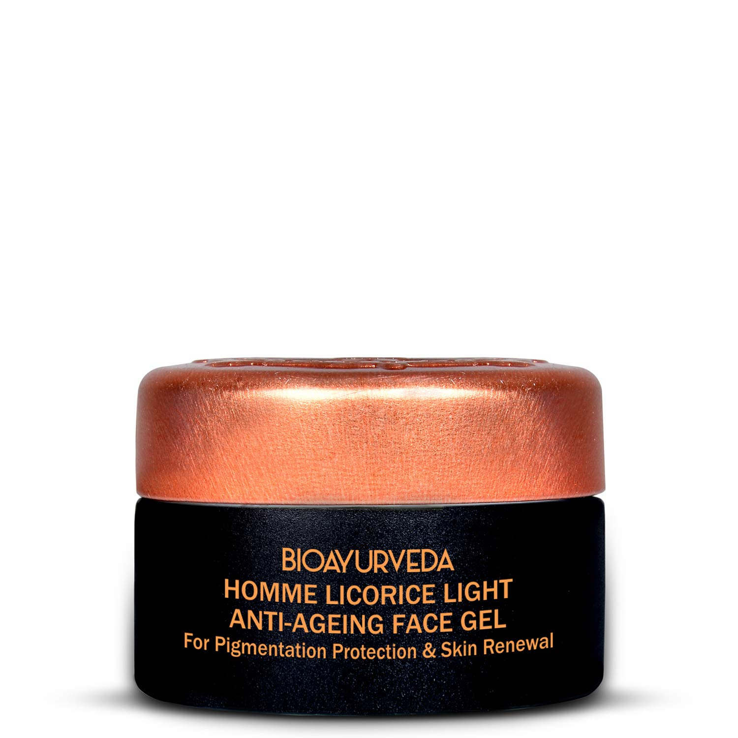 BIOAYURVEDA Homme Licorice Lightening Face Gel with Essential Oil-Healing of Acne, Clogged Pores, Dark Spots, Puffiness| Organic Facial & Eye Care Cream Gel Moisturizer| All Type Skin Care| (0.7 Oz)