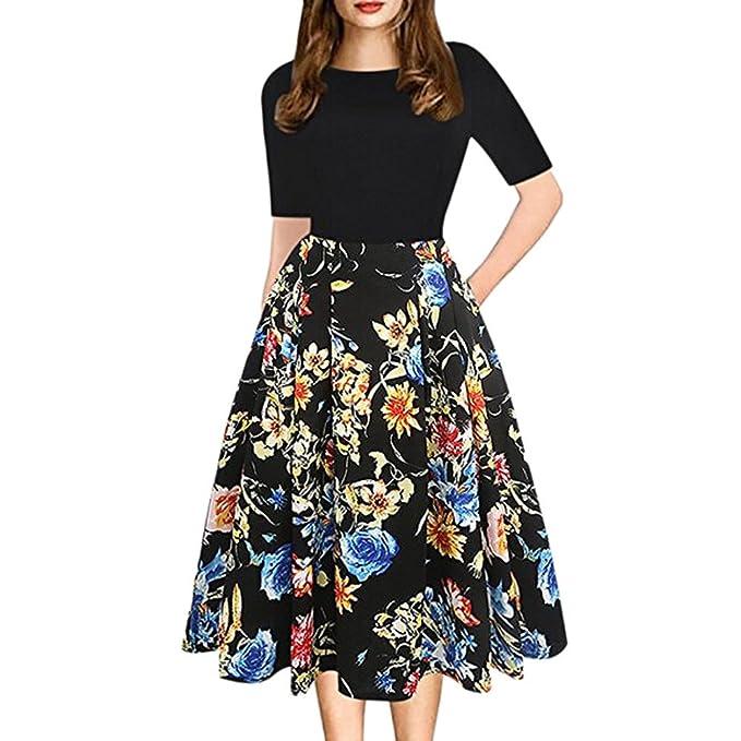 ALIKEEY Fashion Womens Vintage Patchwork Bolsillos Puffy Swing Print Casual Vestido De Fiesta Negras Chalecos Deportivas