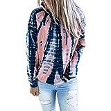 Diukia Women's Fashion Tie Dye Print Pullover Hoodie Long Sleeve Drawstring Hoodie Sweatshirt with Pocket S-2XL