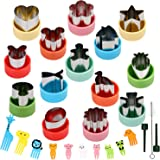 BakingWorld 14 Pcs Vegetable Cutter Shapes Set,1.5 inch Size Mini Pie,Fruit and Cookie Pastry Stamps Mold with 10 Pcs Food Pi
