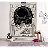 Jasion Tarot Tapestry The Moon The Sun The Star Tapestry Medieval Europe Divination Black and White Hippie Mysterious Wall Ha