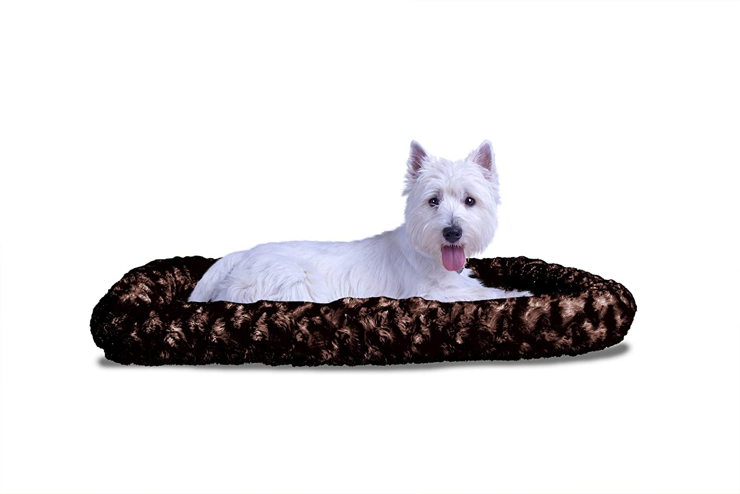 Chocolate XSmallFur Haven Nap Ultra Plush Bolster for Kennels and Crates, Large Chocolate, Fits  24  X 36