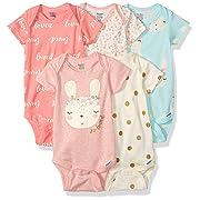 Gerber Baby Girls 3-Pack Organic Short-Sleeve Onesies Bodysuits, Bunny Love 0-3 Months