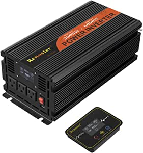 Renoster 3000W Power Inverter DC 12V to AC 120V with LCD Display Wireless Rechargeable Remote Control, Modified Sine Wave Car Power Converter with 3 AC Outlets 2.1A USB for RV Outdoor Camping