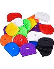 24 Pieces Key Caps Set Flexible Key Covers for Easy Identifying Door Keys, 8 Colors