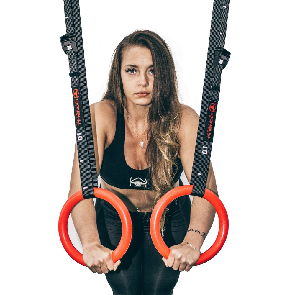 Iron Bull Strength Gymnastics Rings with Adjustable Straps for Gym Strength Training Cross Training ABS - 28mm Pull Ups and Dips
