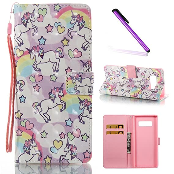 sneakers for cheap 74890 9f357 Note 8 Case,Galaxy Note 8 Case,LEECOCO Fancy 3D Painted Floral Wallet Case  with Card Slots Hand Strap Slim PU Leather Flip Kickstand Case Cover for ...