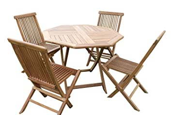 Olive Grove Solid Teak Octagonal Garden Dining Table And Folding - Teak table and 4 chairs