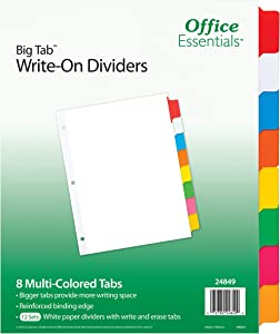 Office Essentials Big Tab Write-On Dividers, 8-1/2 x 11, 8 Tab, Multicolor Tab, 12 Pack (24849)