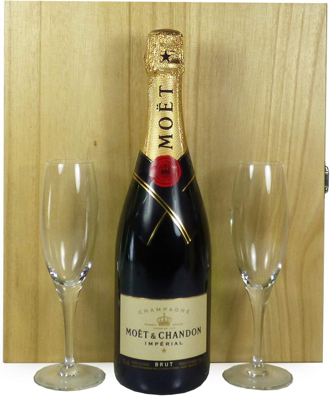 75cl Moet & Chandon Brut Imperial Champagne con 2 x flautas de champán presentadas en una caja de regalo de madera - Ideas para regalos de cumpleaños, aniversario, navidad, negocios y corporativos:
